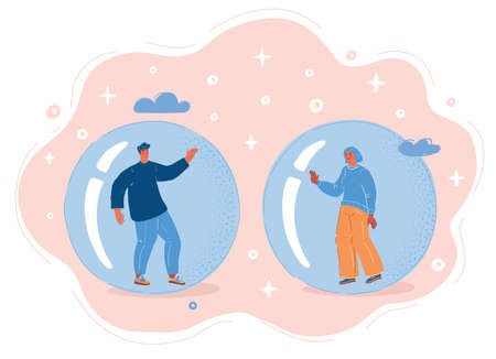 Vector illustration of People inside Echo chamber, isolated bubble, woman and man cant communicate or do it at distance