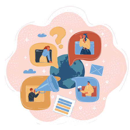 Vector illustration of people communicate with each other. Global online conversation concept. Vecteurs