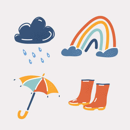 Vector illustration of weather icons. Rainy cloud, rainbow, umbrella, rubber shoes on white.