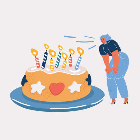 Vector illustration of woman Celebrating her birthday. Big cake and burning candles.
