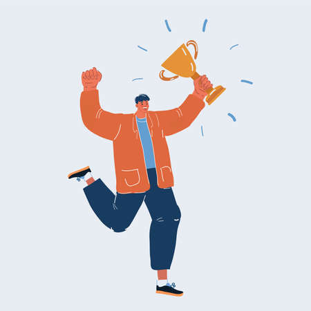 Vector illustration of man holding gold trophy and jumping, dancing