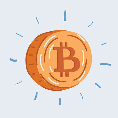 Vector illustration of coin into one Bitcoin cryptocurrency. Illusztráció