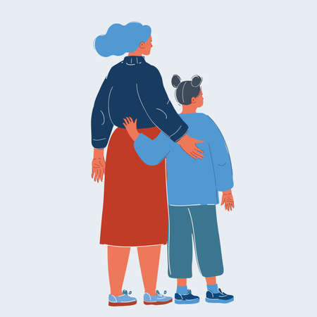 Vector illustration of Mothers Day Concept. Loving Mother and Daughter Hugging Rear View. Illusztráció