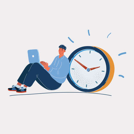Vector illustration of man working work at laptop, with a clock