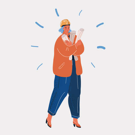 Vector illustration of builders in orange overalls and helmets. Vector illustration. Female builder with drawings