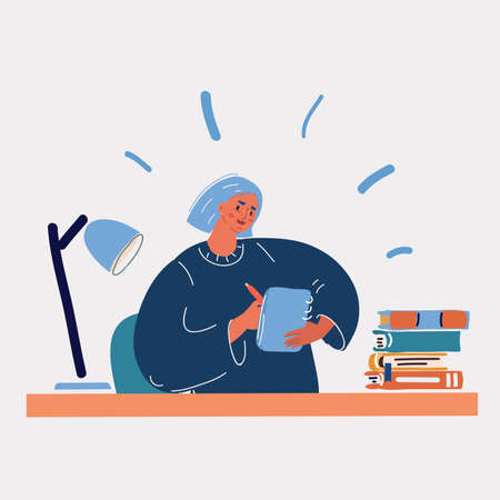 Vector illustration of of a woman writing or drawing at her sketchbook.
