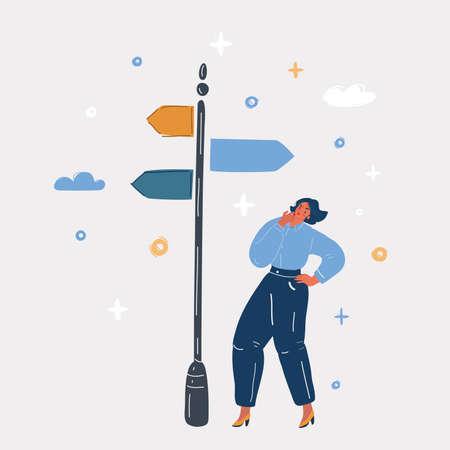 Vector illustration of Woman chooses where to go. Illusztráció