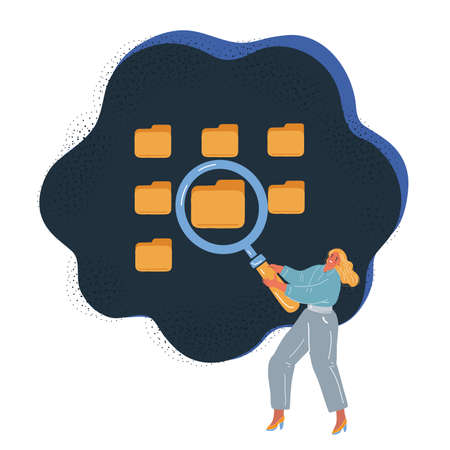 Vector illustration of Search concept of woman make searching with magnifying glass
