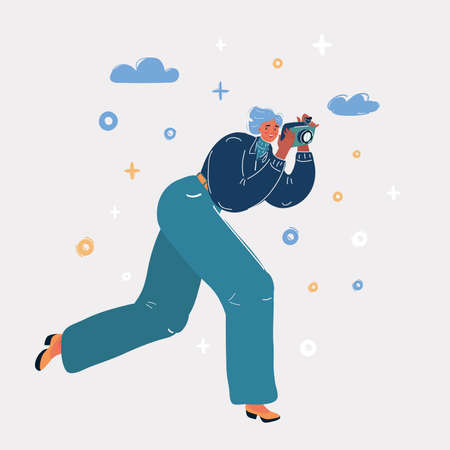 Vector illustration of Woman taking a Photo