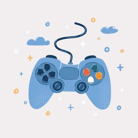 Vector cartoon illustration of game-pad isolated Illusztráció