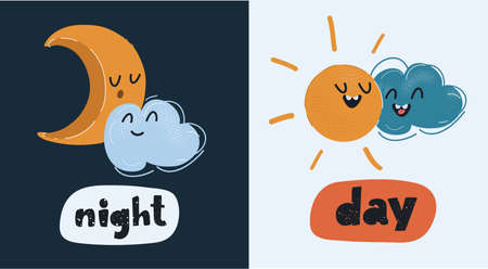 Vector illustration of Split-screen Showing the Sun and the Moon