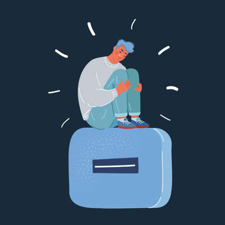 Vector illustration of depressed man, pessimist with big minus sign on dark backround. Illusztráció