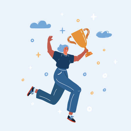 Vector illustration of women run with trophy in her hand.