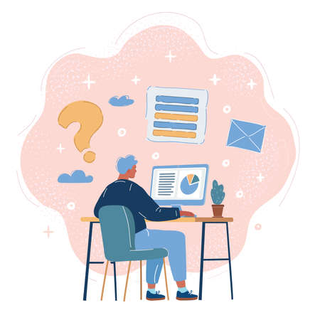 Vector illustration of Back view of Business Man working on desktop workplace