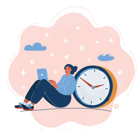 Vector illustration of Business woman working with big clock