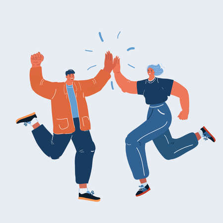 Vector illustration of man and woman congratulating each other. Giving a high fives gesture with their hands as they celebrate a business success 向量圖像