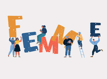 Vector illustration of feminist movement and girl power concept. Stronger together.