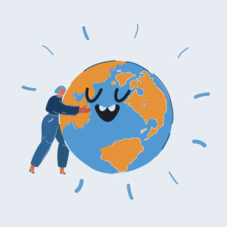Vector illustration of Woman Embracing Earth Globe