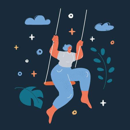 Vector illustration of girl swing over dark backround.