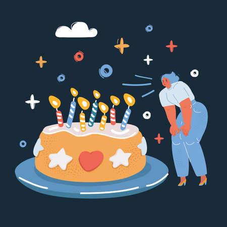 Vector illustration of birthday party big cake blows out the candles over dark backround.