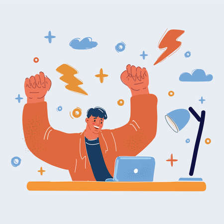 Vector illustration of success man work at laptop and winning.