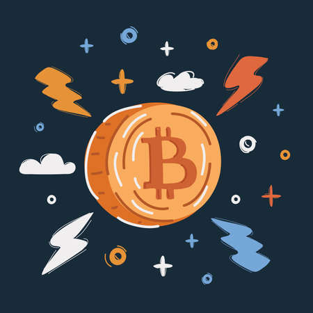 Vector illustration of Bitcoin sign icon for internet money. Crypto currency symbol and coin image for using in web projects or mobile applications. Blockchain based secure cryptocurrency.