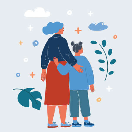 Vector illustration of Mother hug Her Daughter. Rear view