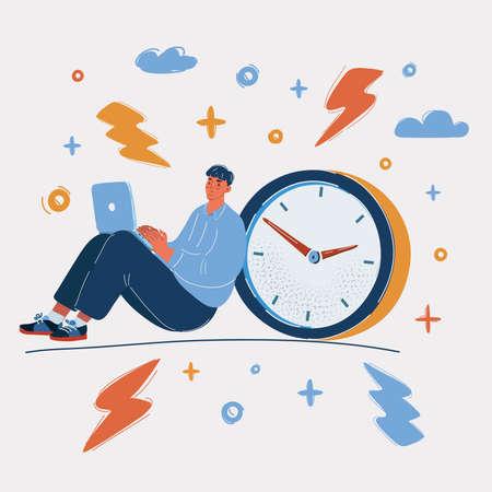 Vector illustration of Stressed Business Man Set near Big Clock