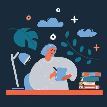 Vector illustration of woman writing diary. Write in her diary or journal over dark backround