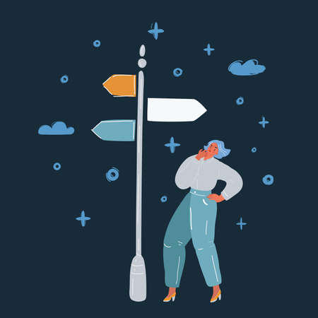 Vector illustration of a woman making a choice on crossroads over dark backround. 向量圖像