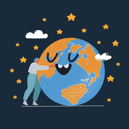 Vector illustration of Woman Embracing a Giant Globe over dark backround.
