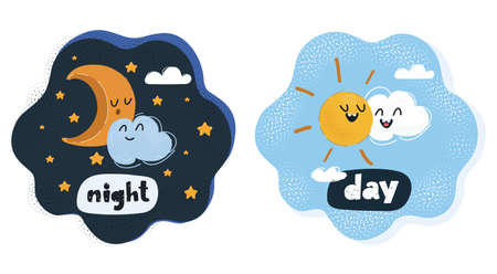 Vector illustration of day and night concept.