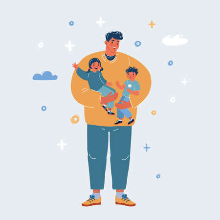Vector illustration of Dad take care about his son and daughter. 向量圖像
