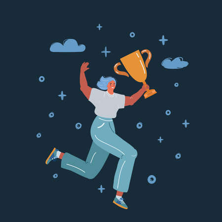 Vector illustration of Happy Woman Jumping with Trophy Cup over dark backround.