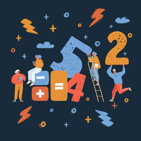Vector illustration of people get togetehr in team for working with big number, they count