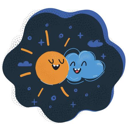 Vector illustration of sun and cloud get together. Ilustração Vetorial