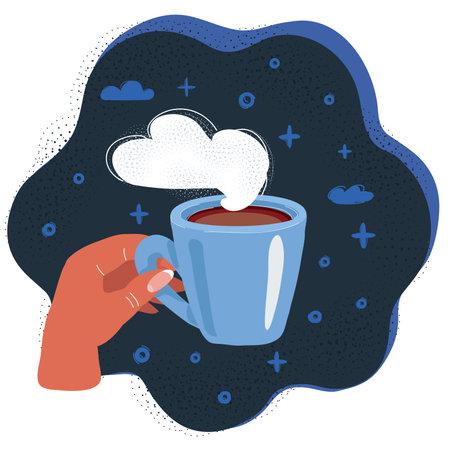 Vector illustration of Hand hold mug with coffe on dark backround.