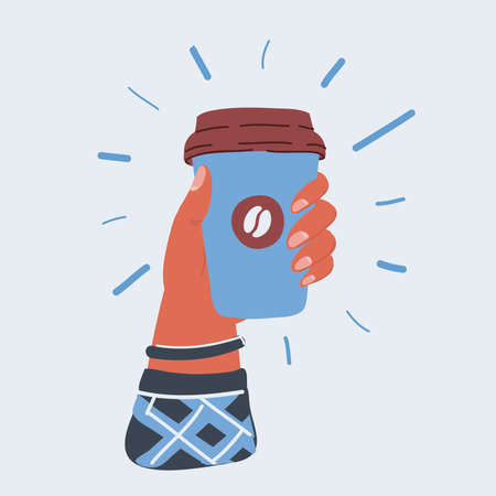 Vector illustration of paper cup of coffee in human hand. Takeaway orders. Ilustracja