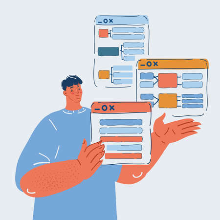 Vector illustration of startup business, software developer working and thinking about project structure, prototyping concept.