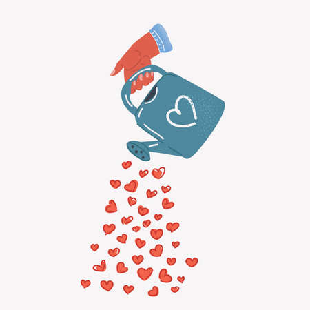 Vector illustration of water can in hand pours hearts. Giving love conceptl