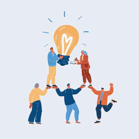 Vector illustration of Teamwork with idea light bulbs above their heads Ilustracja
