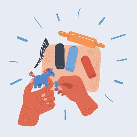 Vector illustration of plasticine craft object children's hands makes a horse. Workshop concept. Ilustracja