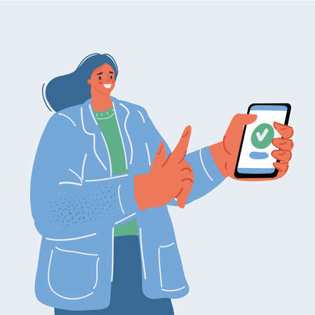 Vector illustration of woman with smartphone in her hands. She install app or rate smth, send message