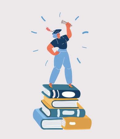 Vector illustration of Woman standing on pile of books in graduated hat with diploma in her hand