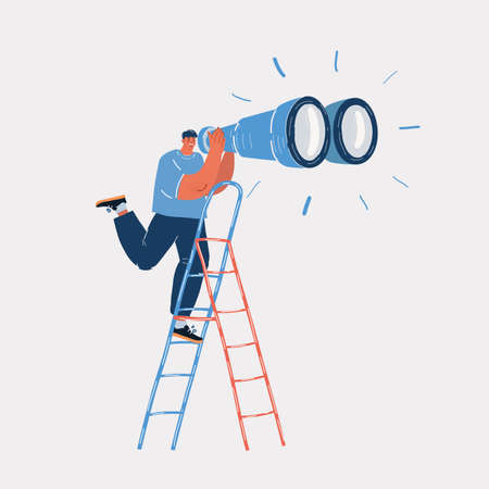 Vector illustration of Young businessman on a ladder using giant binoculars at ladders Ilustracja