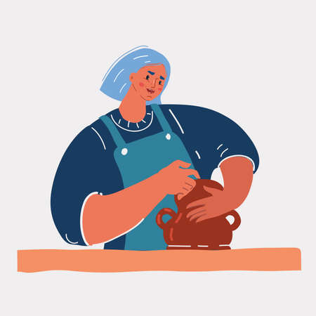 Vector illustration of Clay bowl author decorating, pottery making. Ceramic Workshops concept.