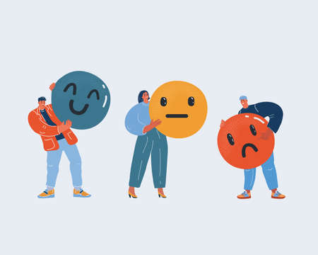 Vector illustration of client service rating. People with smileis with different emotions from angry to happy. Three mood emotions: angry, indifferent, satisfied.