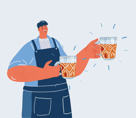 Vector illustration of man holding a two glass of bear. Bartender in the pub