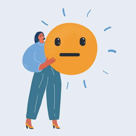 Vector illustration of neutral reaction of woman Ilustracja
