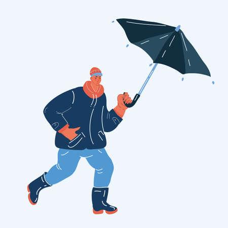 Vector illustration of man walk with umbrella